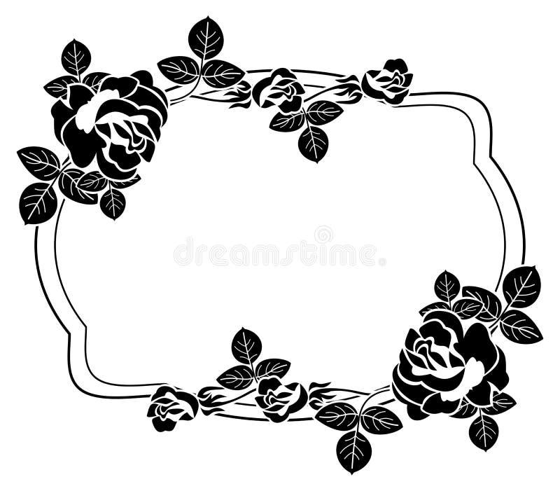 与风格化玫瑰剪影的黑白框架 光栅分类 皇族释放例证