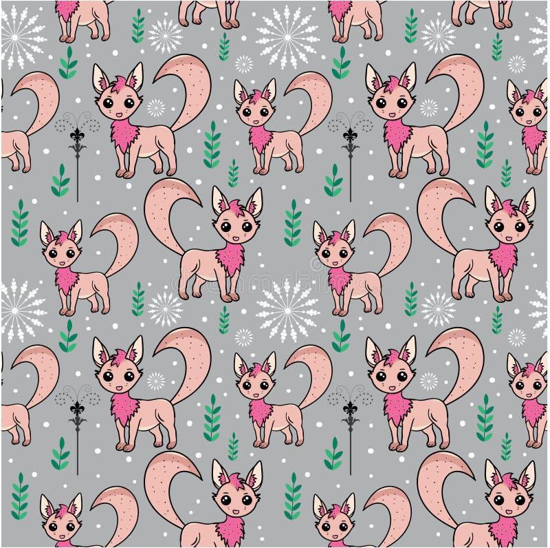 与风格化白狐的无缝的样式 皇族释放例证