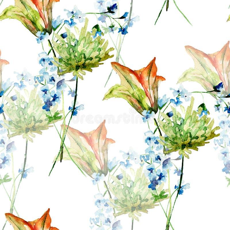 与风格化百合和格伯的无缝的墙纸开花 库存例证