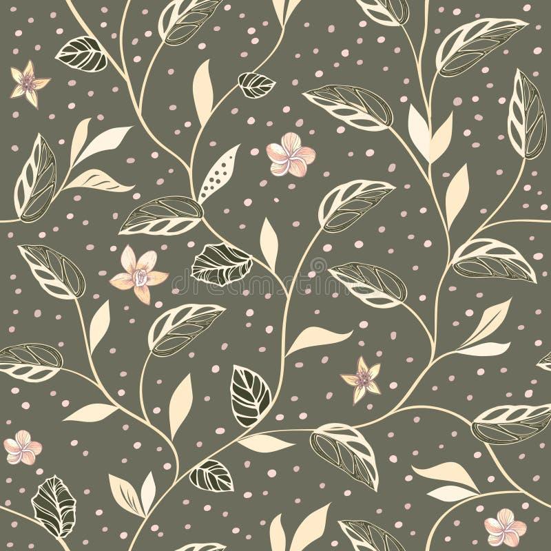 与风格化的传染媒介葡萄酒无缝的样式与手拉的叶子和花在黑暗的背景 皇族释放例证