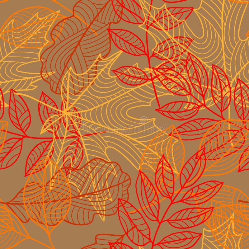 与风格化秋天叶子的无缝的花卉样式 落的叶子 库存例证