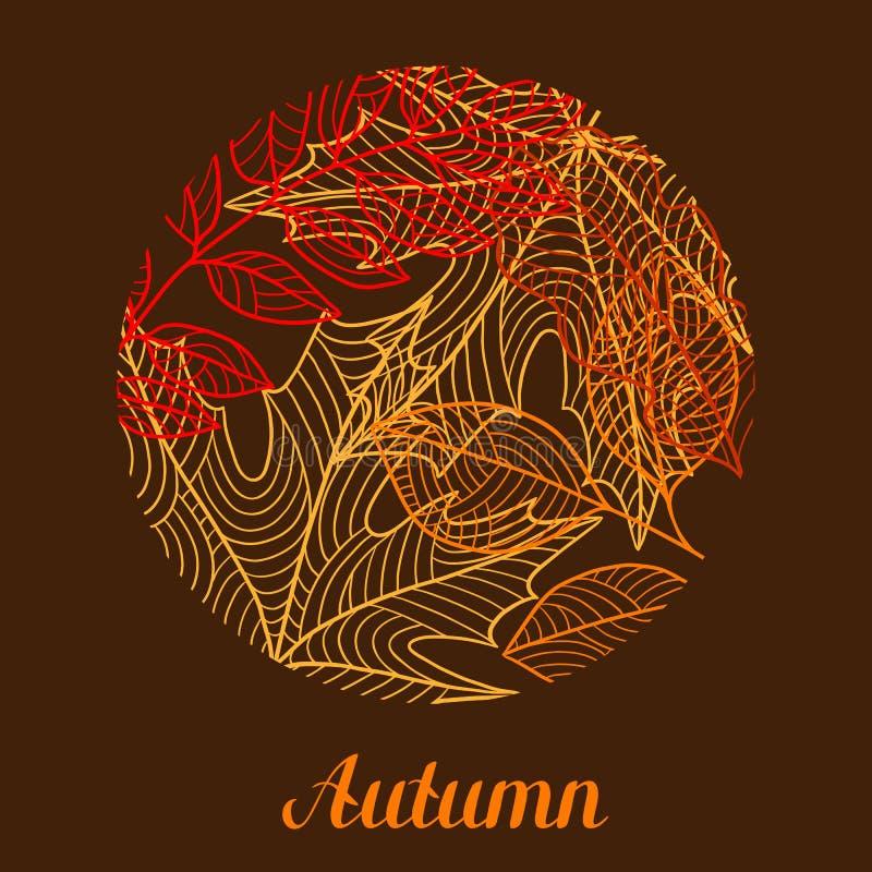 与风格化秋天叶子的花卉背景 落的叶子 库存例证