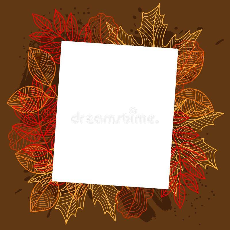 与风格化秋天叶子的花卉背景 落的叶子 皇族释放例证