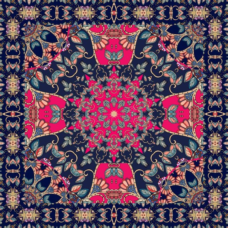 与风格化红色花-坛场的桌布 头巾 皇族释放例证