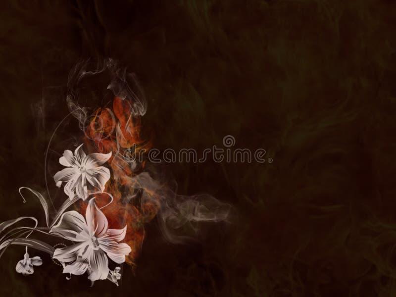与风格化花和火的背景纹理 库存例证