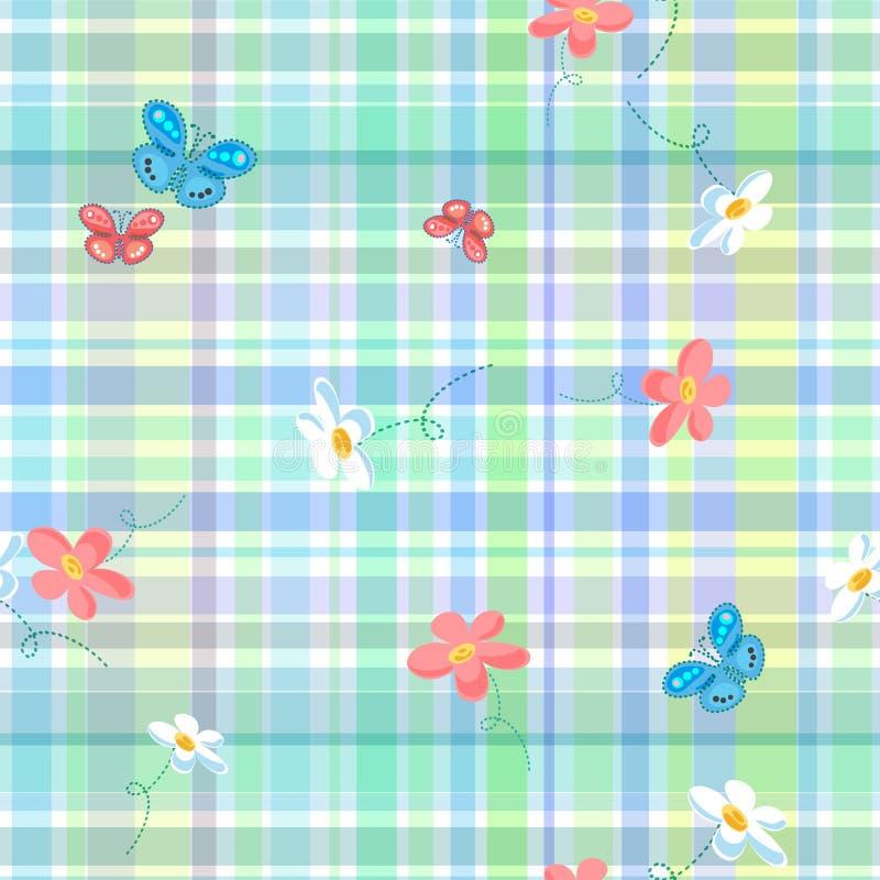 与风格化花和蝴蝶的无缝的方格的背景 皇族释放例证