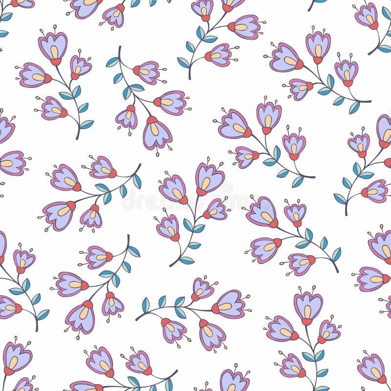 与风格化花的传染媒介无缝的样式 设计和装饰的背景 库存例证