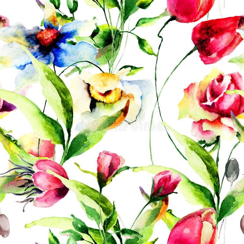 与风格化花的无缝的墙纸 向量例证