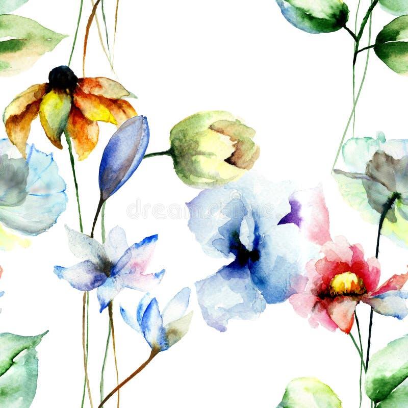 与风格化花的无缝的样式 皇族释放例证