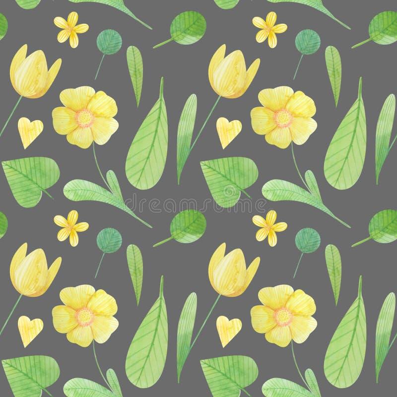 与风格化花的逗人喜爱的水彩例证的无缝的样式 皇族释放例证