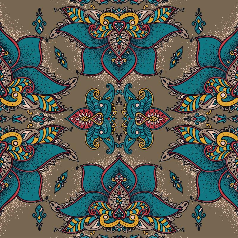 与风格化莲花的皇家无缝的装饰品在东方或中世纪样式 向量例证