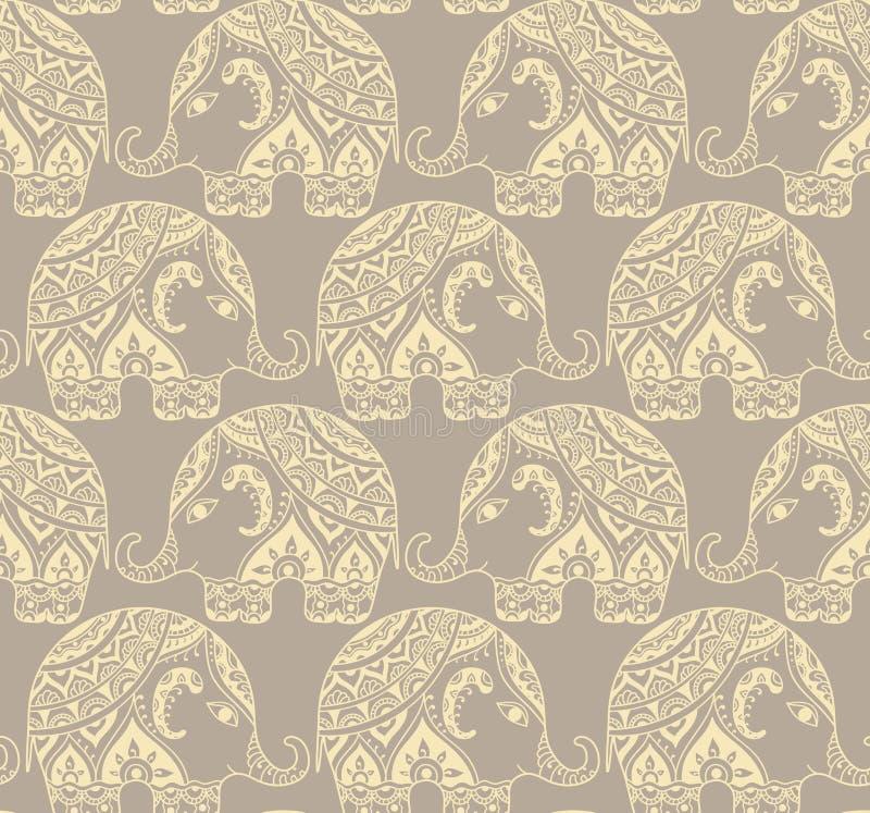 与风格化被仿造的大象的清楚的无缝的纹理在Indi 皇族释放例证
