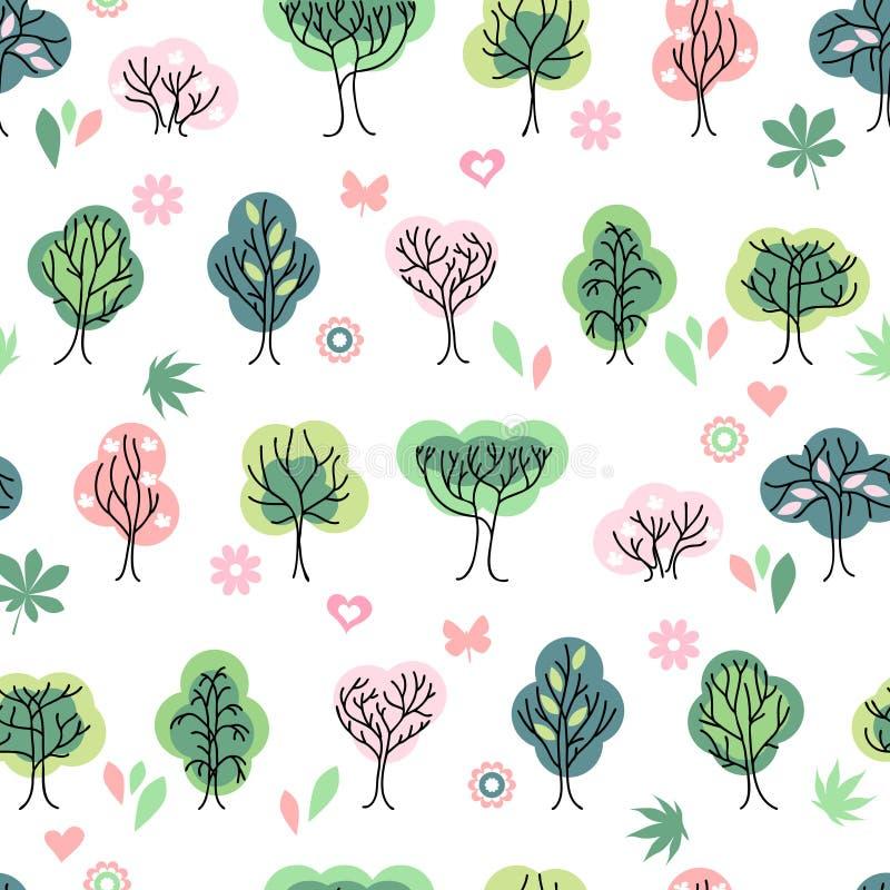 与风格化逗人喜爱的树的无缝的俏丽的样式 库存例证