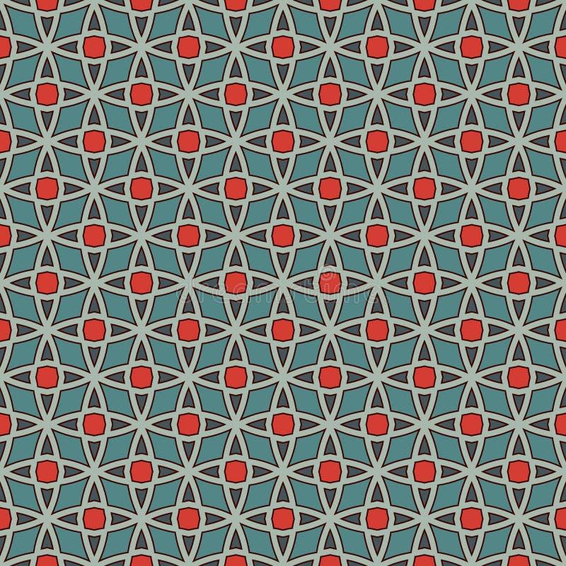 与风格化重复的星的无缝的样式 马赛克墙纸 东方几何装饰品 网眼图案纹理 皇族释放例证