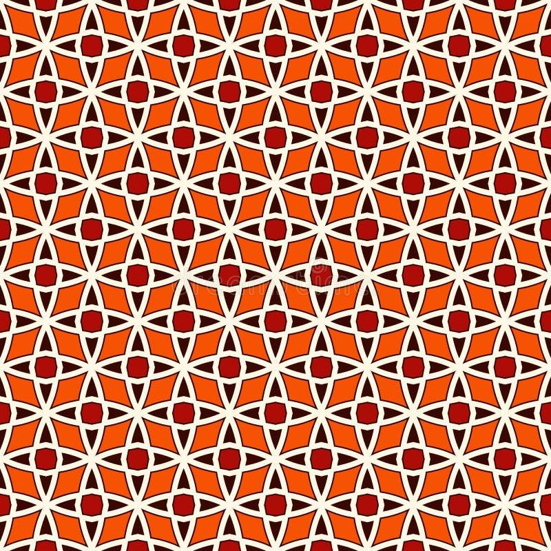 与风格化重复的星的无缝的样式 马赛克墙纸 东方几何装饰品 网眼图案纹理 库存例证