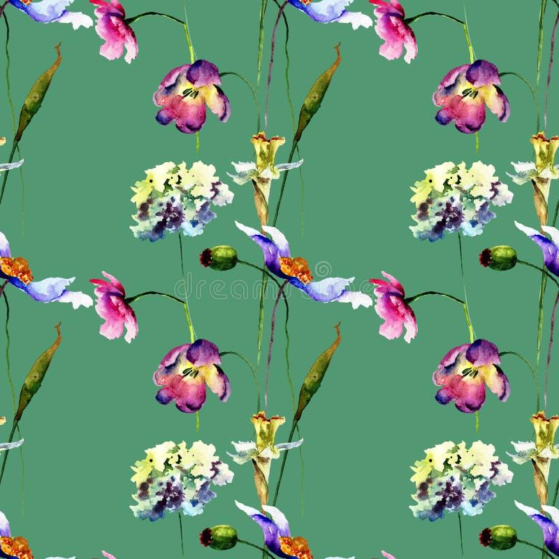 与风格化野花的无缝的样式 库存照片