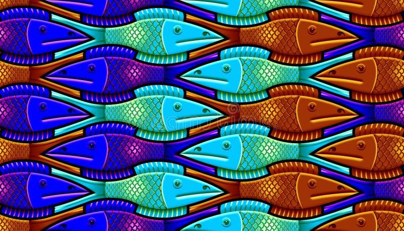 与风格化鱼的无缝的样式 向量例证