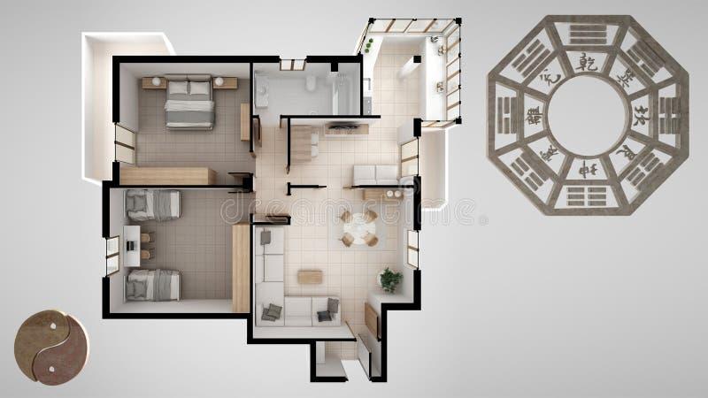 与风水咨询学校、家庭公寓平的计划、顶视图与bagua和陶标志,yin和杨的室内设计项目 库存例证