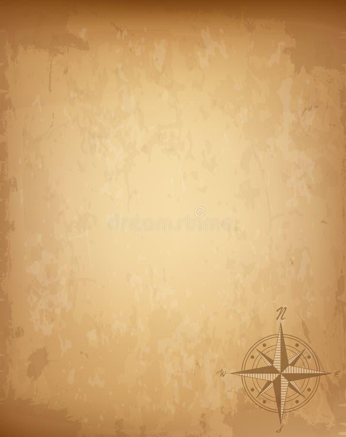 与风玫瑰色指南针标志的老葡萄酒纸 高度详细的例证 库存例证