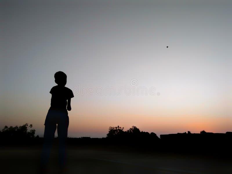 与风筝和自然的孩子 免版税库存图片