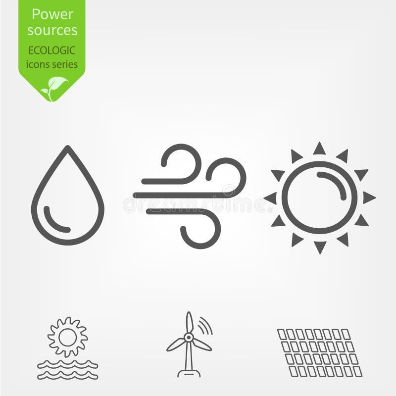 与风车、水涡轮和太阳电池板概述传染媒介象的可更新的能源太阳、风和水 库存例证