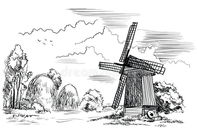 与风车的风景 也corel凹道例证向量 库存例证