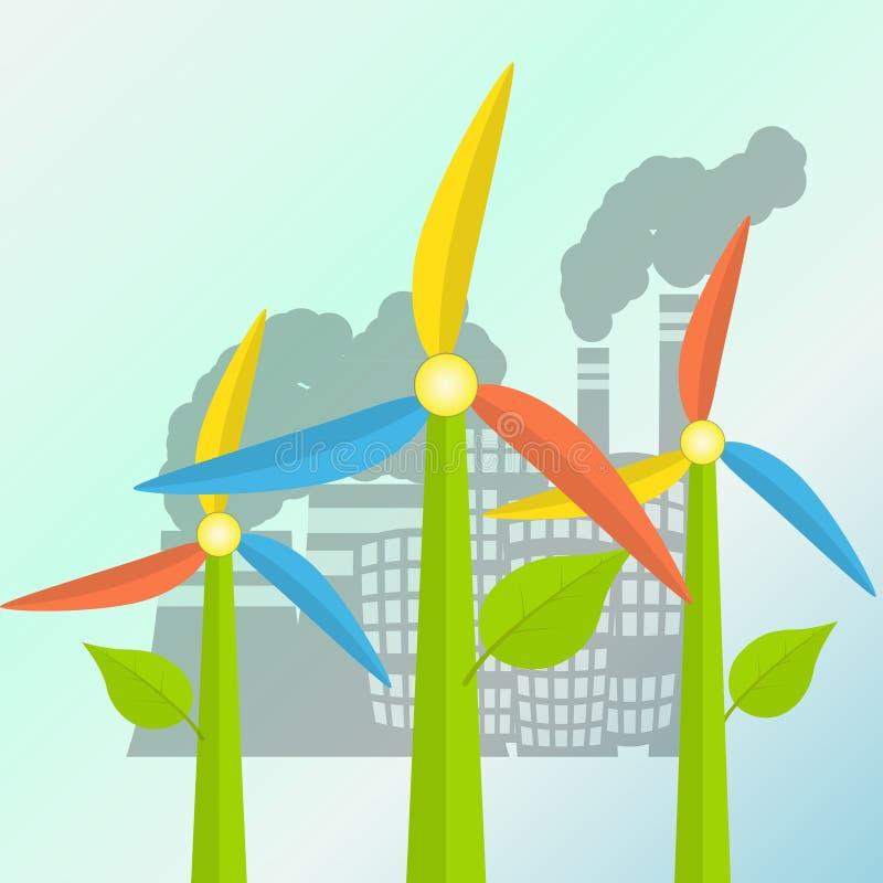 与风车的绿色能量概念传统化了作为花 向量例证