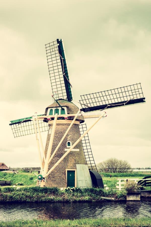 与风车,传统荷兰乡下,荷兰的美好的风景 免版税图库摄影