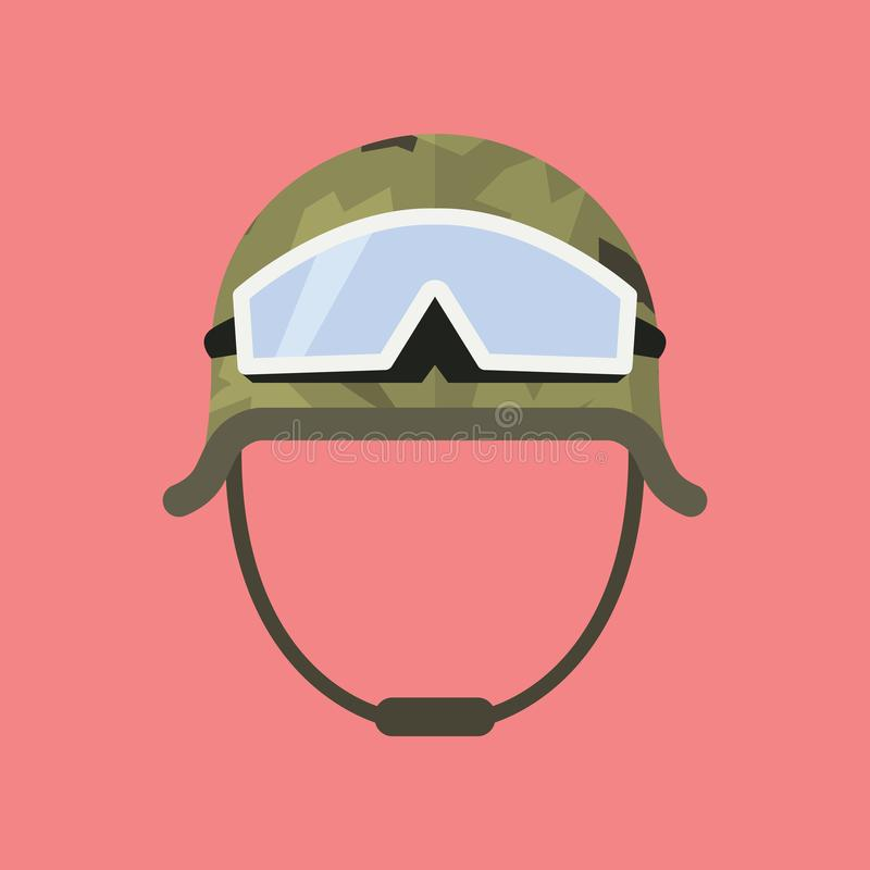 与风镜的军事金属盔甲 库存例证
