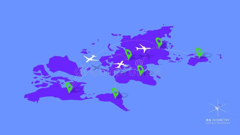 与飞机、被加点的方向道路和地图尖的等量Infographic传染媒介例证 皇族释放例证