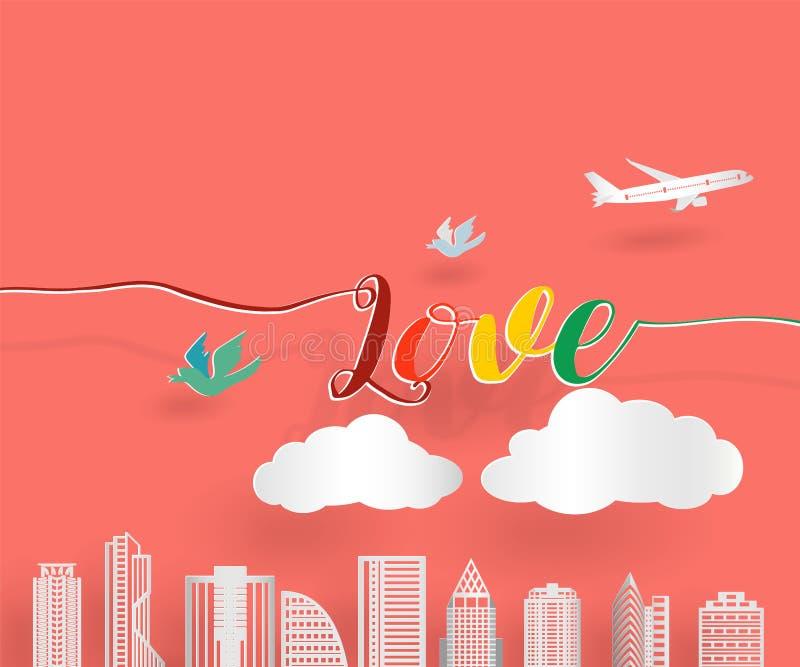 与飞机、鸟和云彩的情书与漂浮在橙色背景,纸艺术样式的大厦的阴影 库存例证