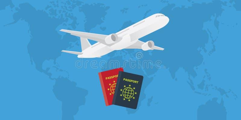 与飞机和世界地图的护照作为背景 库存例证