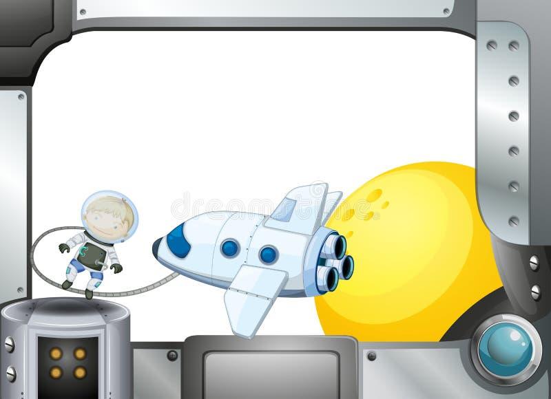 与飞机和宇航员的一个金属框架边界 皇族释放例证