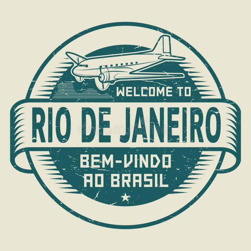 与飞机文本欢迎的邮票向里约热内卢,巴西 皇族释放例证