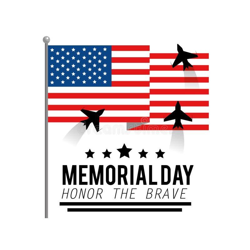 与飞机的乌纳河旗子对阵亡将士纪念日 向量例证