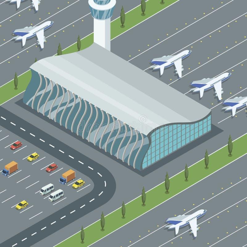 与飞机的机场大厦 皇族释放例证