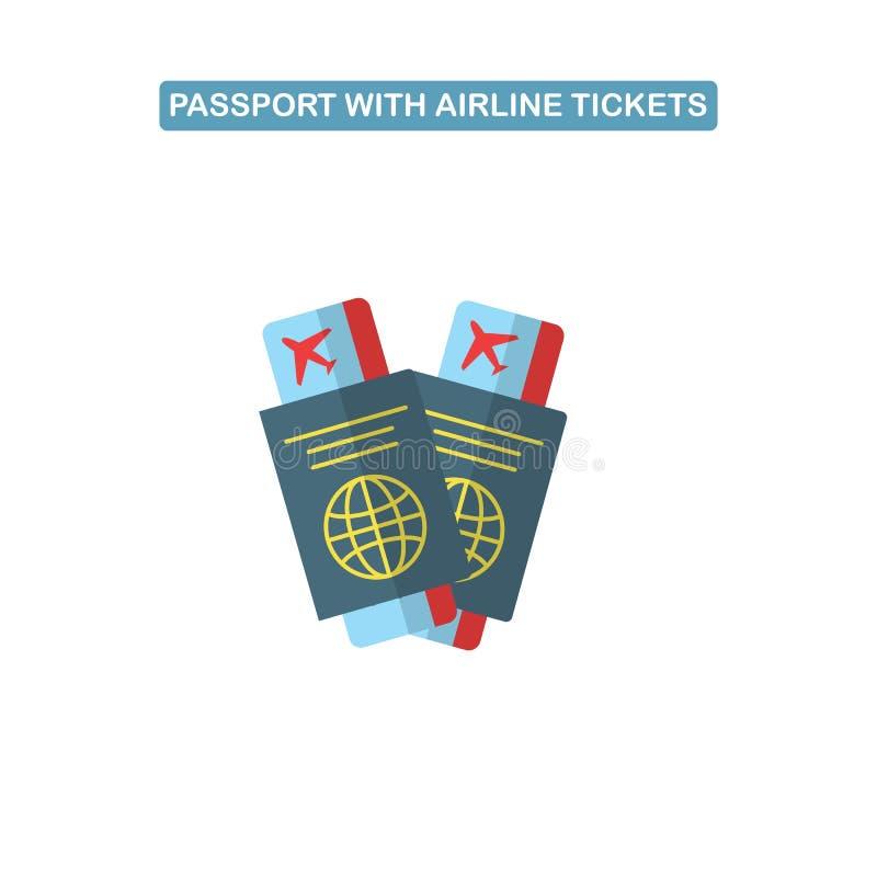 与飞机票线象的护照 库存例证