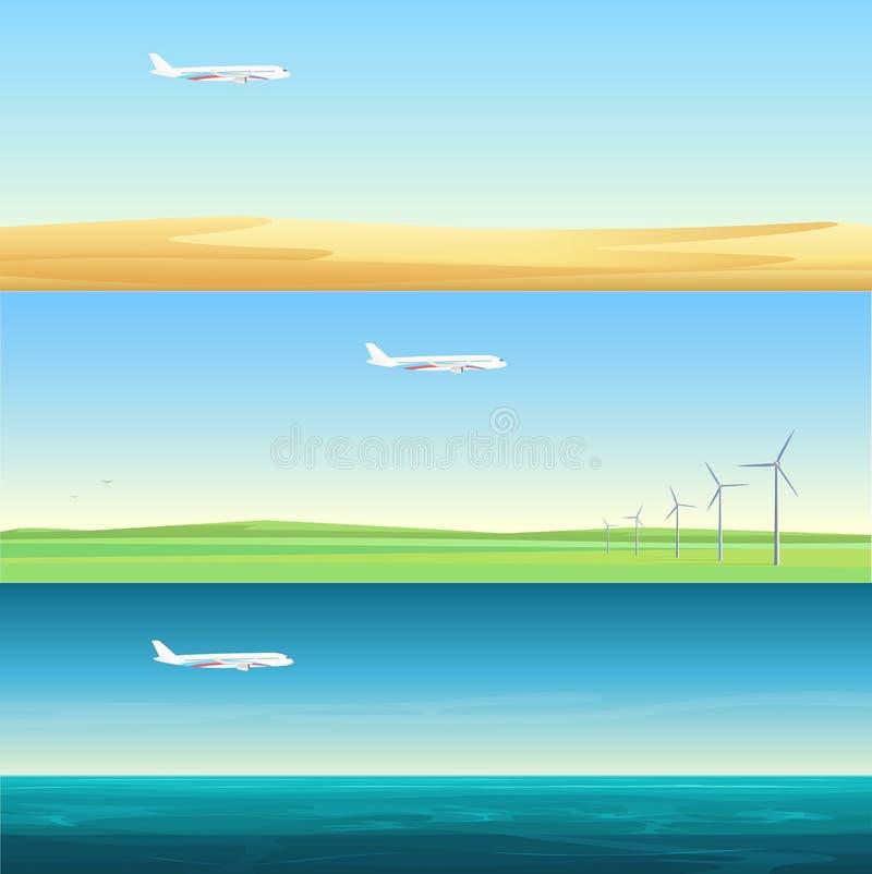 与飞机飞行的美好的minimalistic水平的横幅风景在领域、海和沙漠 库存例证