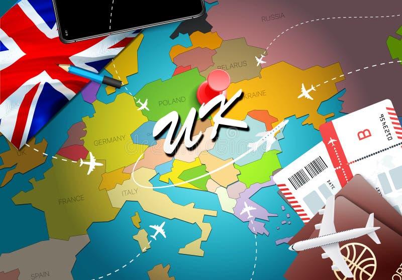 与飞机,票的英国旅行概念地图背景 参观英国旅行和旅游业目的地概念 在地图的英国旗子 E 皇族释放例证