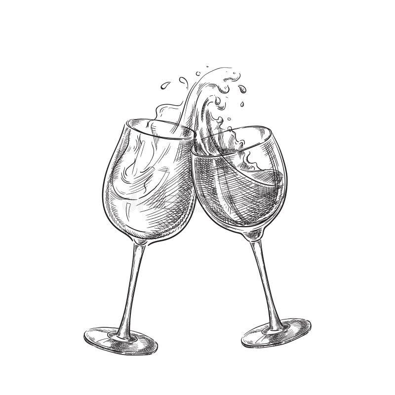 与飞溅的两个酒杯喝,剪影传染媒介例证 手拉的标签设计元素 皇族释放例证