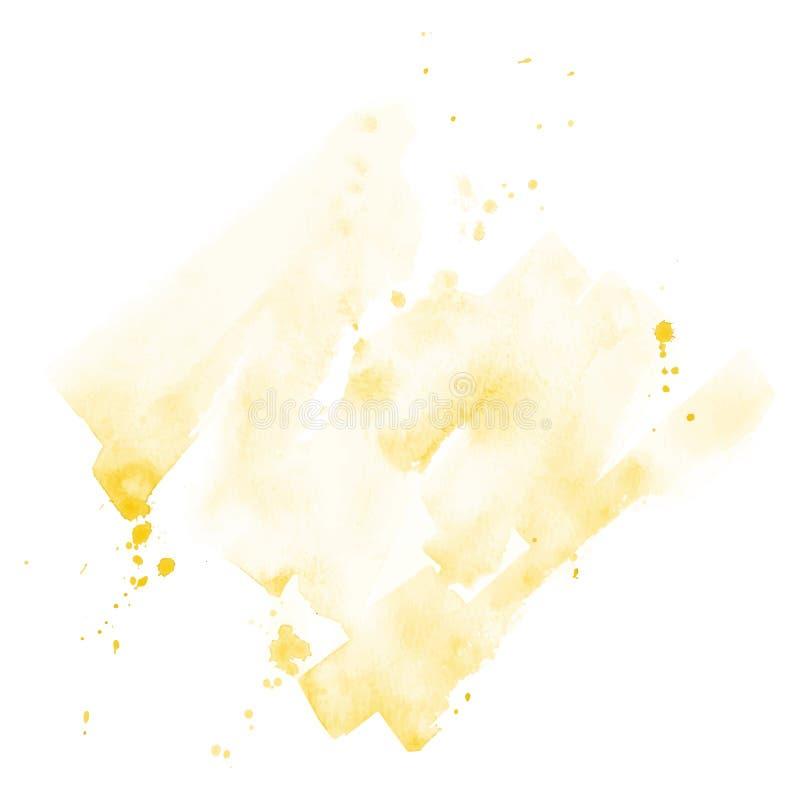与飞溅的水彩手拉的背景黄色 下载例证图象准备好的向量 库存例证