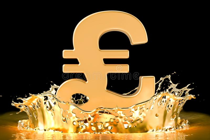 与飞溅的金子, 3D的金黄英镑标志翻译 库存例证