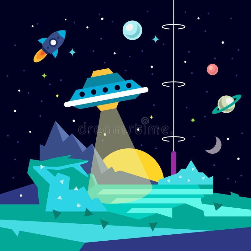 与飞碟的外籍人空间行星风景 皇族释放例证