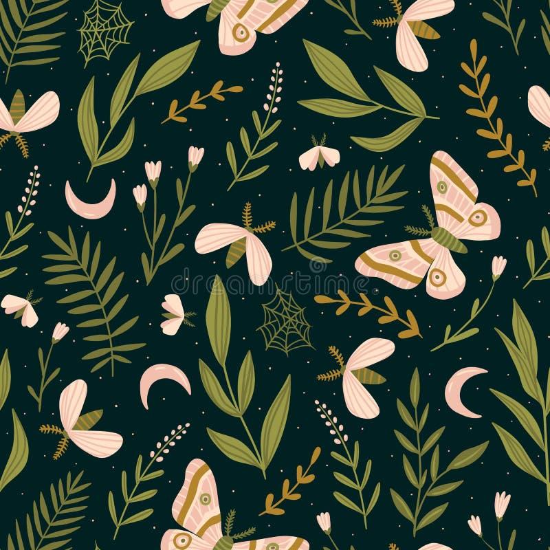 与飞蛾和夜蝴蝶的传染媒介无缝的样式 美丽的浪漫印刷品 黑暗的植物的设计 皇族释放例证