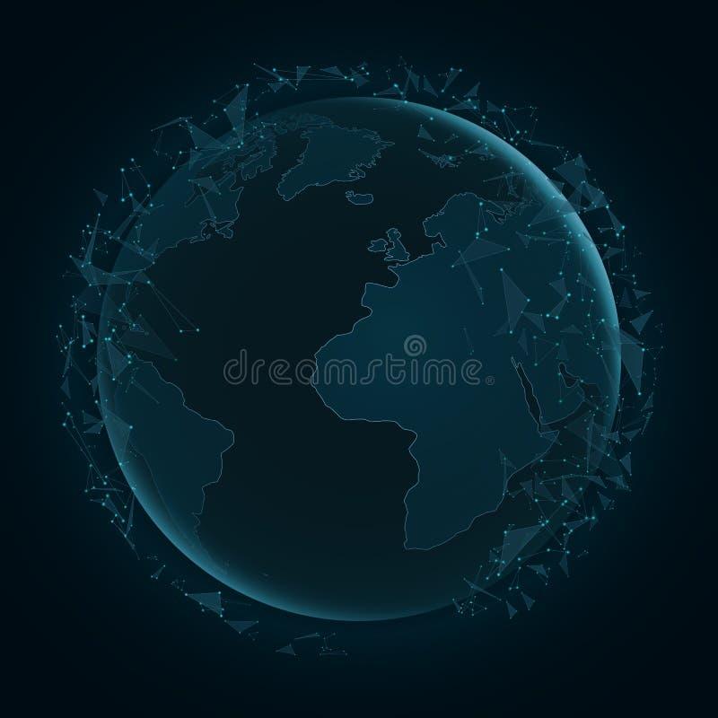 与飞行三角的抽象行星地球 例证映射旧世界 蓝色光 科学幻想小说和高科技 结节样式 例证映射旧世界 世界网络 v 向量例证