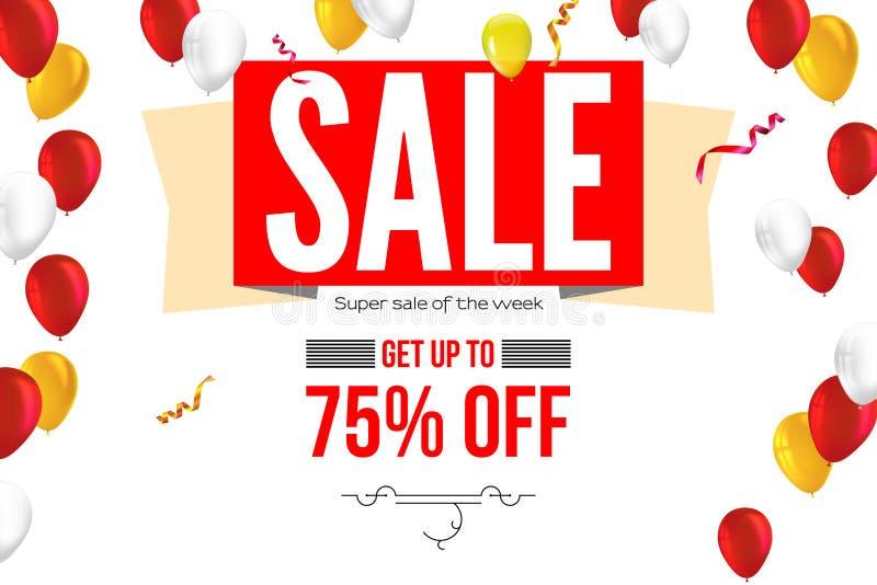 与飞行可膨胀的气球的水平的销售横幅和文本设计, 3D例证 起来到百分之七十五 向量例证