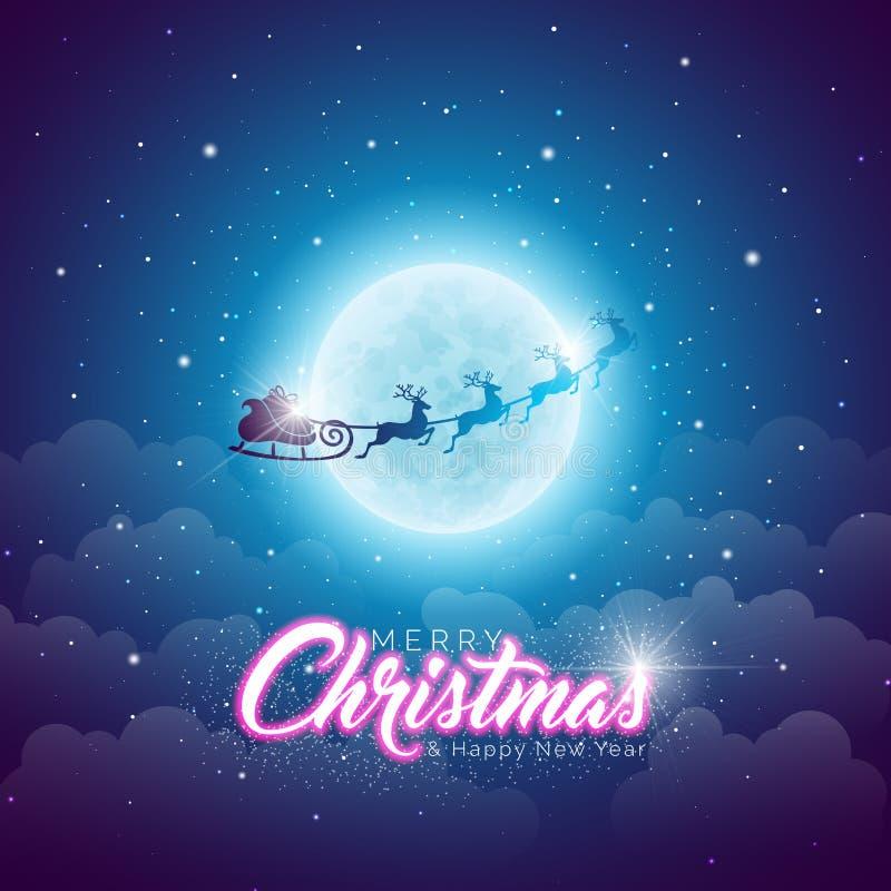 与飞行圣诞老人的圣诞快乐例证在蓝色夜空背景的月亮 贺卡的传染媒介设计 向量例证