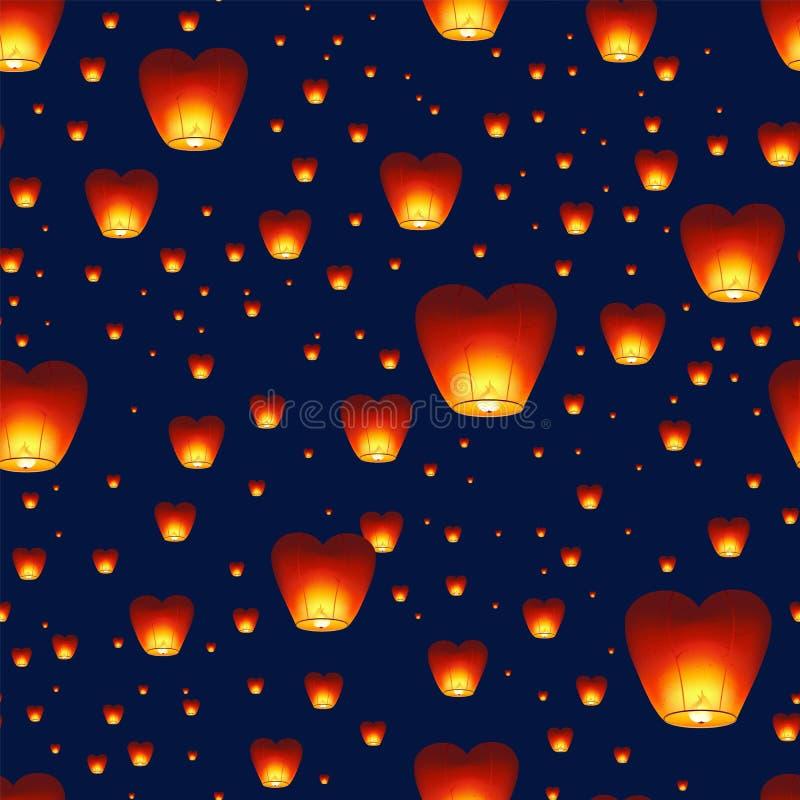 与飞行在夜空的中国灯笼的无缝的样式 与传统亚洲装饰的背景的中间秋天 向量例证