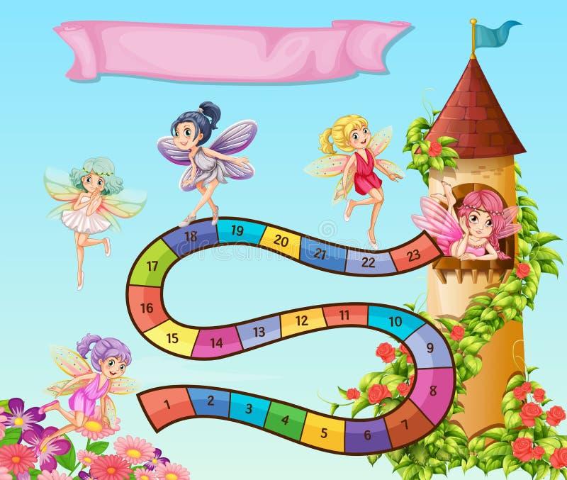 与飞行在庭院里的神仙的Boardgame设计 皇族释放例证