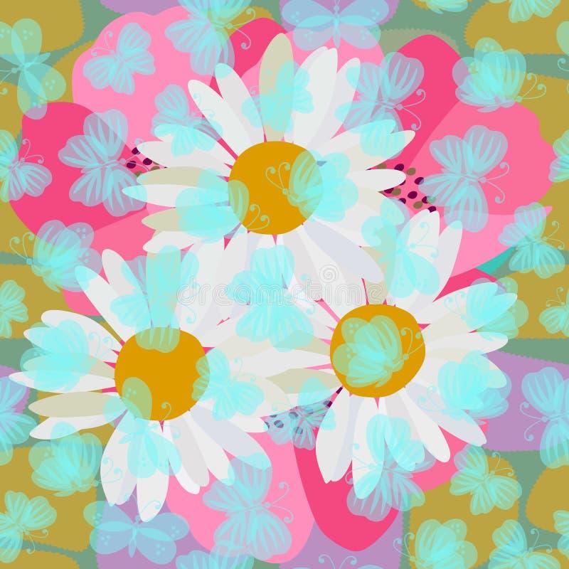 与飞行在春黄菊和鸦片花的透明蓝色蝴蝶的逗人喜爱的无缝的样式 织品的印刷品 皇族释放例证
